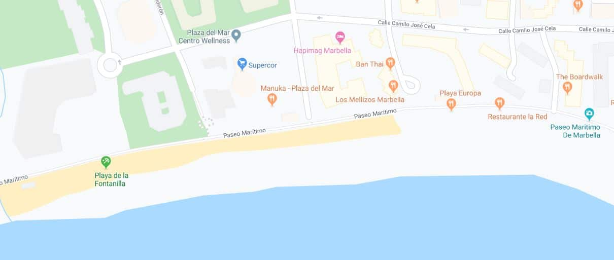 Localización de la playa de la fontanilla