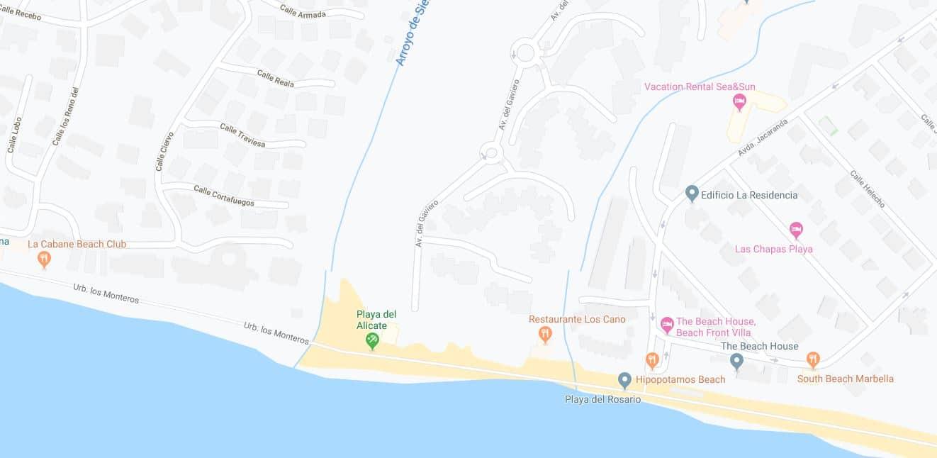 Localización Playa El Alicate
