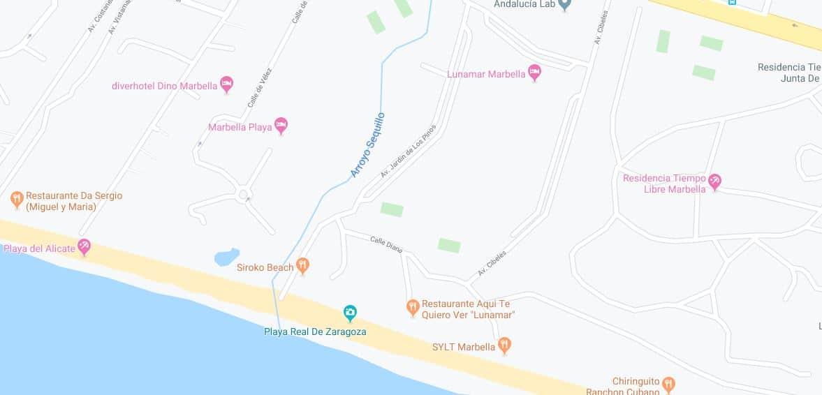 Localización playa real de zaragoza
