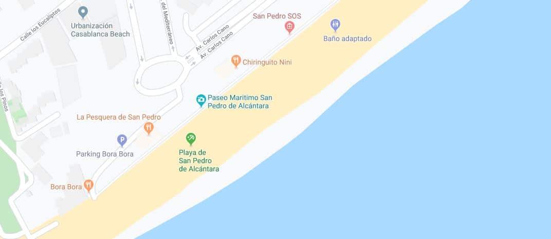 Localización Playa de San pedro de Alcántara