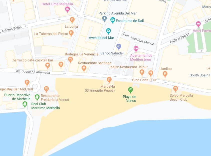 Localización Playa venus Hotel Lima Marbella