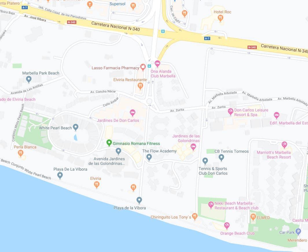 Localización playa vibora