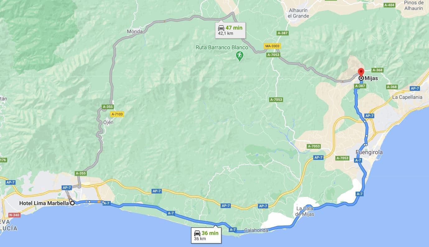 distancia entre Marbella y Mijas
