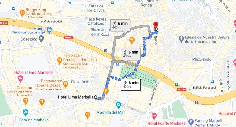 Distancia entre Hotel Lima Marbella y Casco Antiguo de Marbella